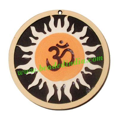 Handmade wooden om and sun pendants, size : 44x3mm - Handmade wooden om and sun pendants, size : 44x3mm