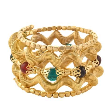Beaded Spiral Hand Bracelet/Bangle - Zephyrr Fashion Beaded Spiral Hand Bracelet Bangle Free size for Girls