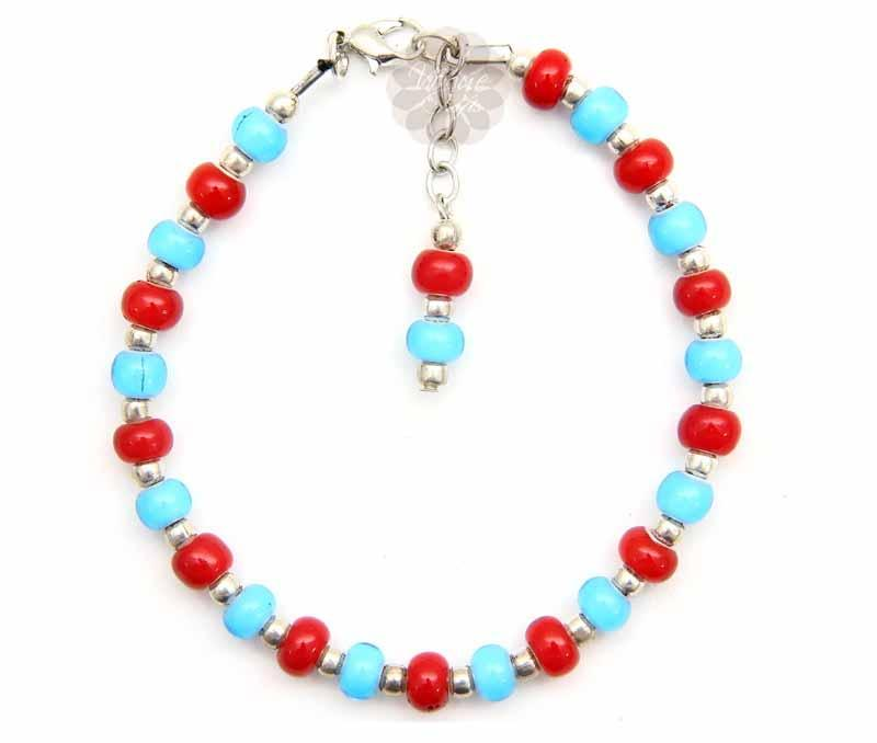 Fancy Silver Ball and Bead Anklet -