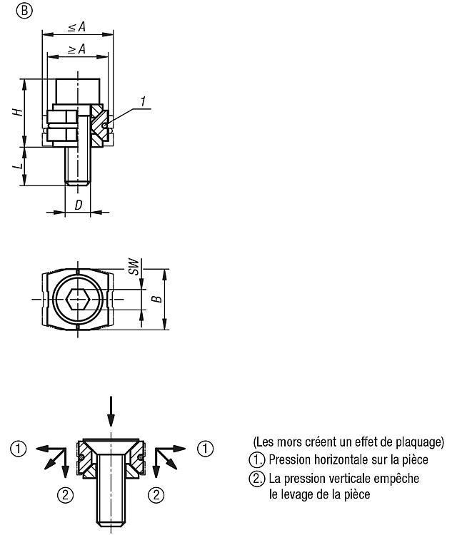 Mors de serrage - Crampons, mors de serrage, vis et écrous de serrage