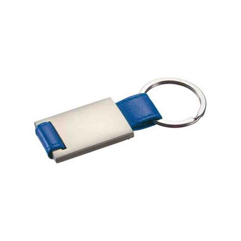 Porte-clés métal/PU bleu - Porte-clés métal