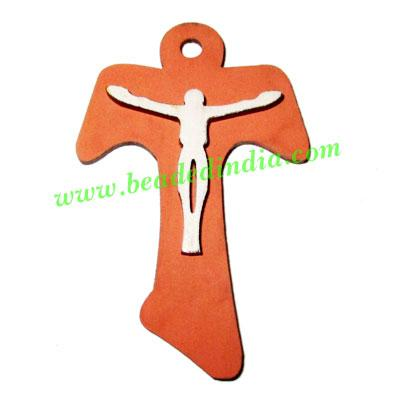 Handmade wooden cross (christian) pendants, size : 41x29x3mm - Handmade wooden cross (christian) pendants, size : 41x29x3mm