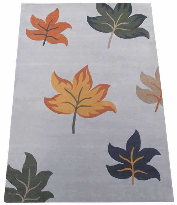 Hand Tufted Rugs; Latexed back with cotton cloth backing - NT-007, Leaf design, Grey/Multi, Wool Rugs and Carpets