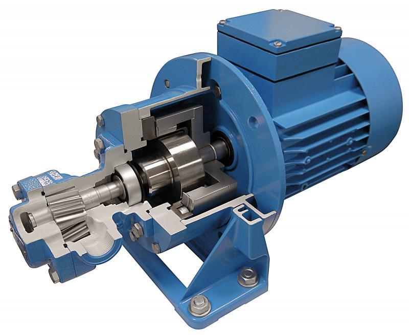 Gear pumps KF 0 with magnetic coupling, Pump with magnetic coupling