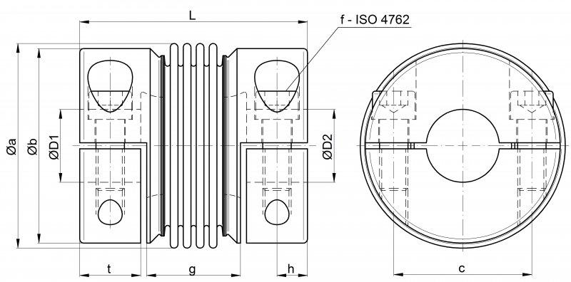 Metal bellows coupling KGH-VA - stainless steel version with split-hub design