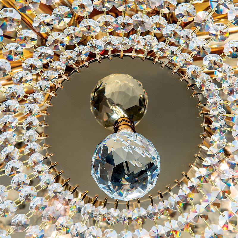Plafonnier cristal rond SHERATA, or 55 cm - Plafonniers en cristal