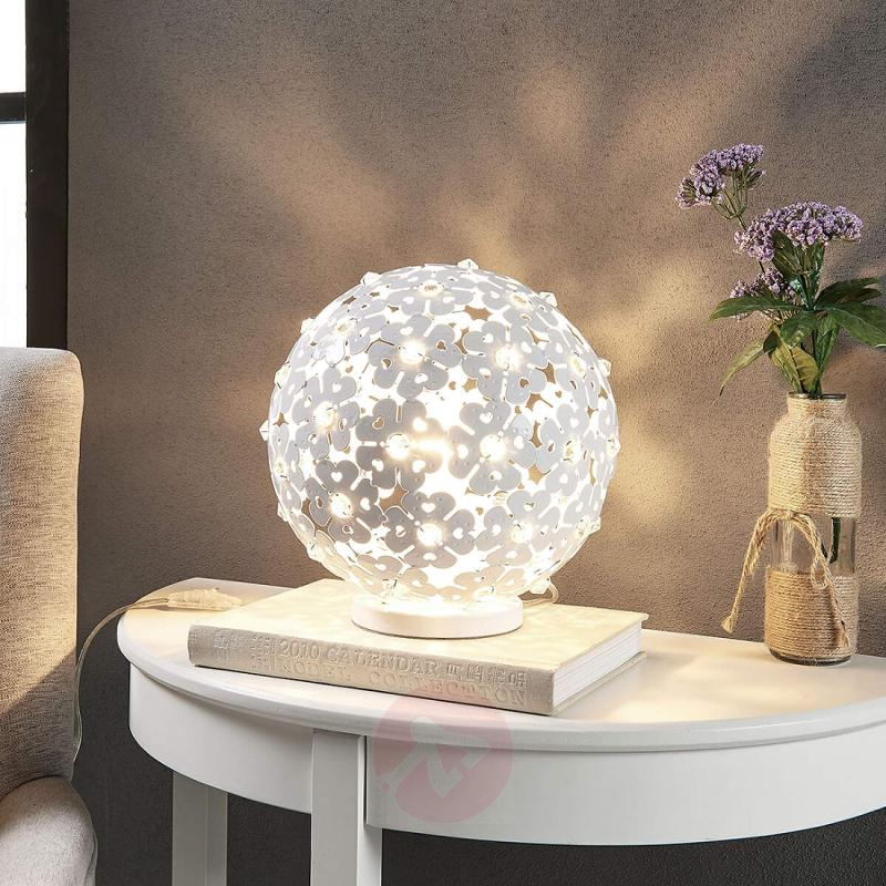 Romantic-looking table lamp Chara with flowers - indoor-lighting