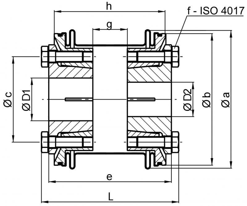 Metal bellows coupling KSS - Metal bellows coupling KSS with conical hub on both sides