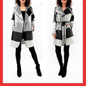 Ζακέτα με πλαινές τσέπες και ζώνη - Γκρι χρώμα,Μέγεθος s/m-m/l,Σύνθεση 100% pol