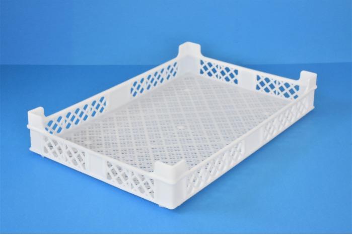Caixa de plástico empilhável  - Tabuleiro gradeado