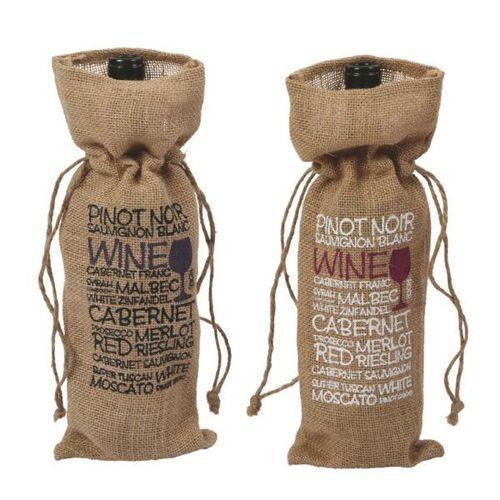 Burlap Wine Bag - Printed Jute Wine Bags, Burlap Wine Gift Bags, Wine Bottle Bags, Custom Bags