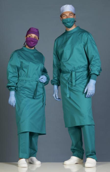 Montreaux surgical coat, green - Classic unisex operating theatre gown. cotton siliconated