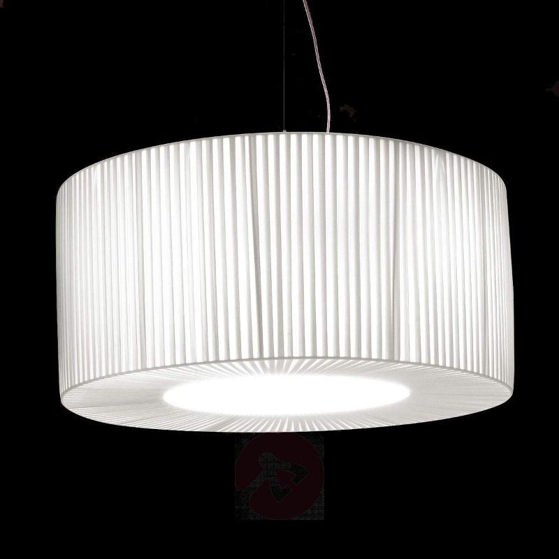 Pleated fabric hanging light Bughy 600, white - Pendant Lighting