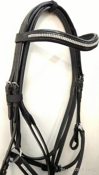 Leather Mexican Grackle Bridle with Reins - RhineStone German Leather Mexican Grackle Bridle With one side Reins