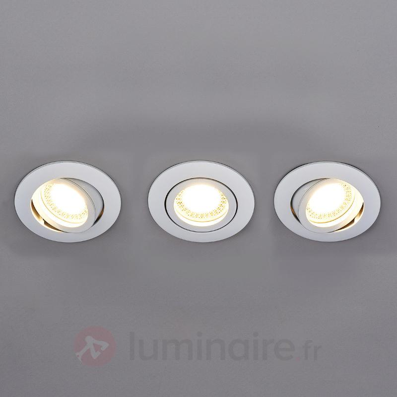 Set de 3 spots encastrés LED Lisara ronds blancs