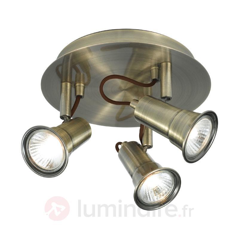 Plafonnier de forme ronde EROS à 3 lampes - Plafonniers laiton/dorés