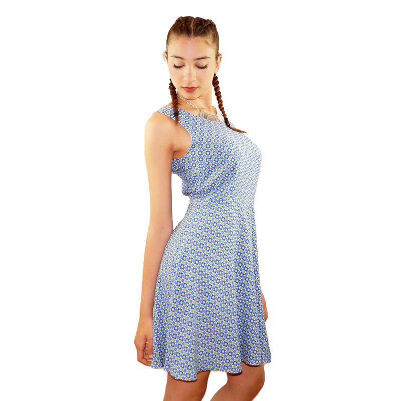Vestido de tirantes, estampado - Vestido para diario, con vuelo, en tonos azules