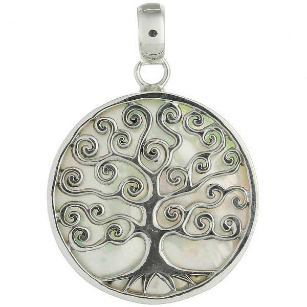 Pingente em Prata 925 Árvore da Vida com Madrepérola