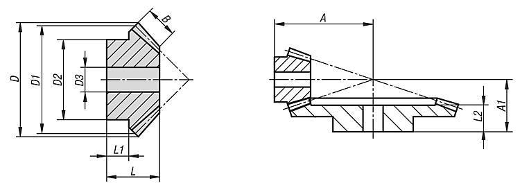 Engrenage conique en acier, rapport 1:3 Denture droite... - Engrenages droit Crémaillères Engrenages coniques