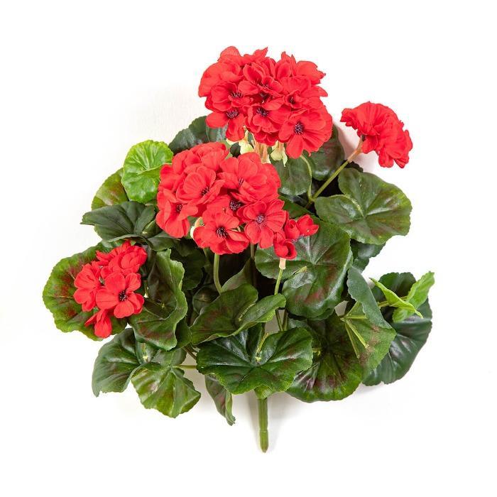 Kunst Geranium 36cm hoog kleur rood UV Safe ! (=steker) -