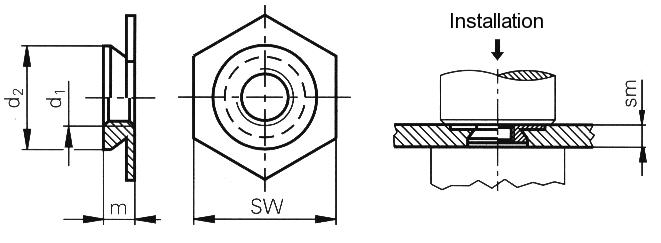 Self-clinching fasteners - PEM® - Self-clinching nuts for flush installation