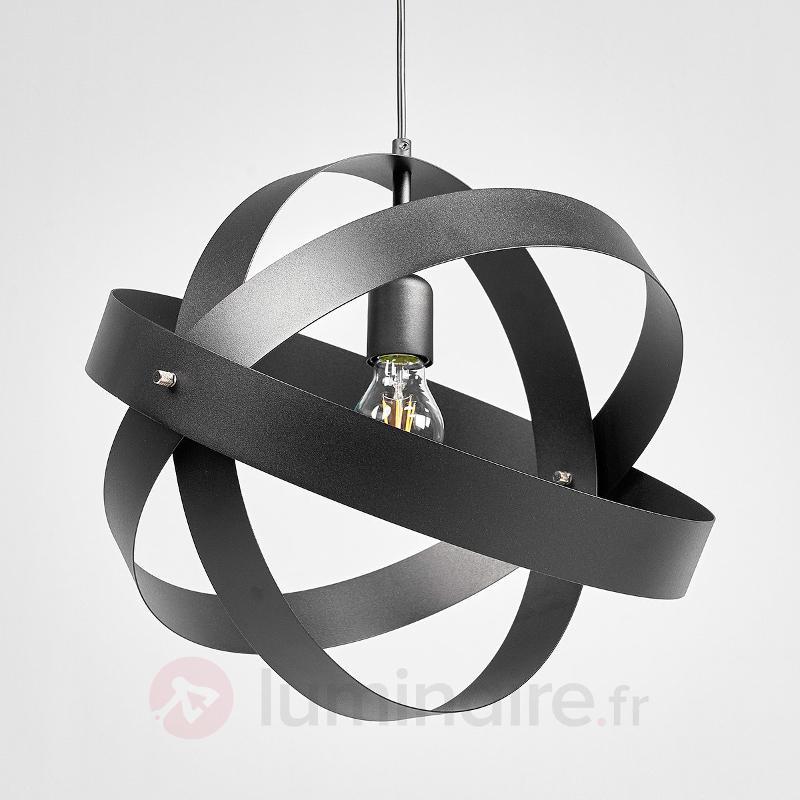 Suspension LED noir Cara avec trois anneaux - Suspensions LED