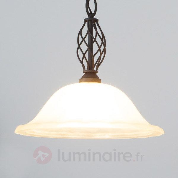 Suspension rustique Dunja avec ampoule LED E27 - Suspensions LED