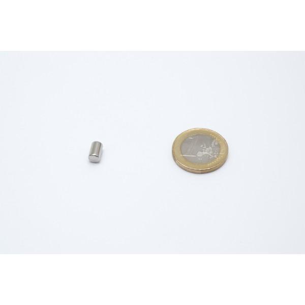 Neodymium disc magnet 5x8mm, N45, Ni-Cu-Ni, Nickel coated - Disc