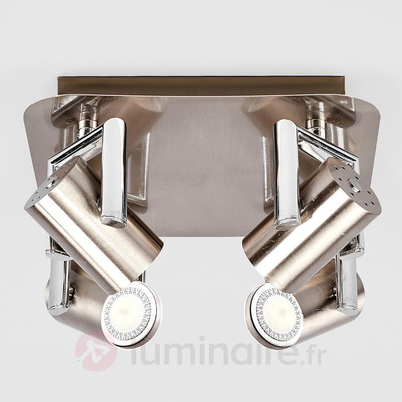 Spot LED de cuisine Luciana à 4 lampes, nickel - Plafonniers LED