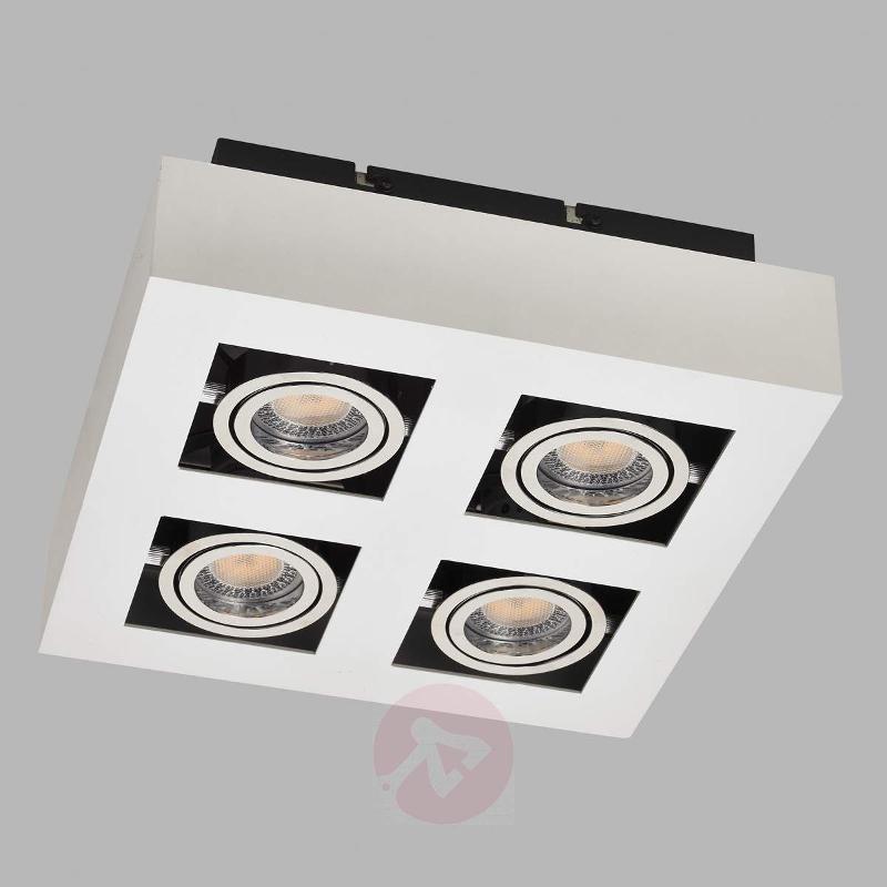 4-bulb square, white LED ceiling light Vince - Ceiling Lights