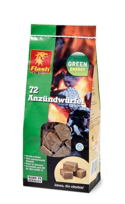 FLASH Anzündwürfel aus Holz & Wachs 72er Beutel - null
