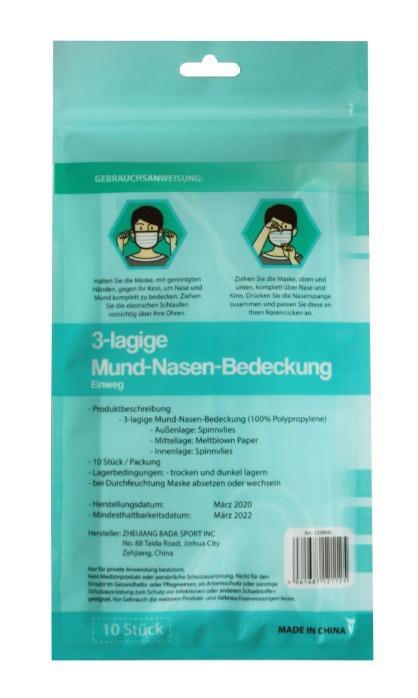 Mund- und Nasenmasken (10 Stück / Packung) - wiederverschließbare Verpackung