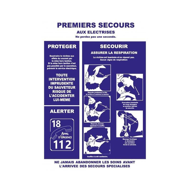 Panneau consignes premiers secours electrisation A3 - Panneaux de sécurité