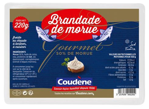 Brandade de morue Gourmet barquette 220g - Produits de la mer