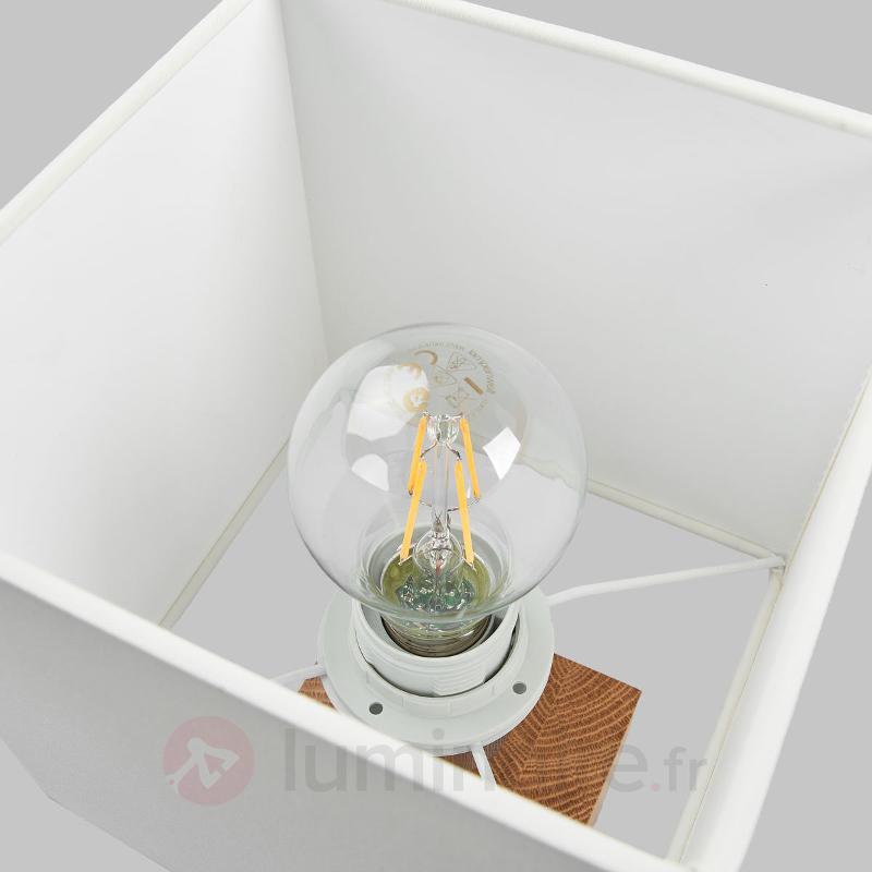 Lampe à poser rect. bois Trongo câble noir-blanc - Lampes à poser en bois