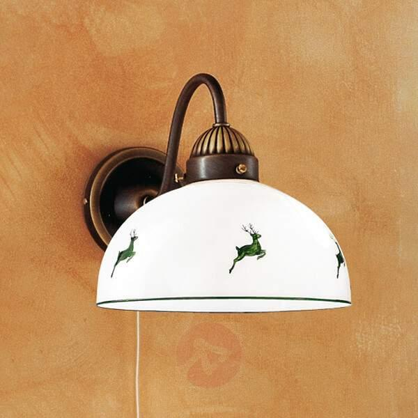 Rustic wall light Nonna, green with stags - Wall Lights