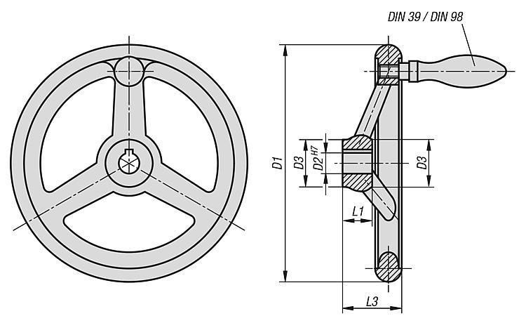 Volant DIN 950 en fonte grise - Volants, manivelles et poignées