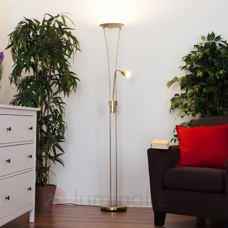 Lampadaire LED Yohann élégant laiton mat - Lampadaires LED à éclairage indirect