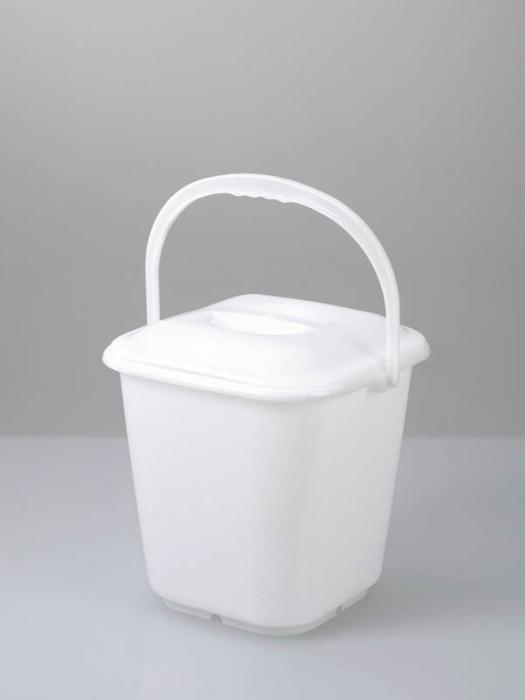 Cubo cuadrado - Cubo de plástico, PE, transparente, 14 l, disponible con tapa