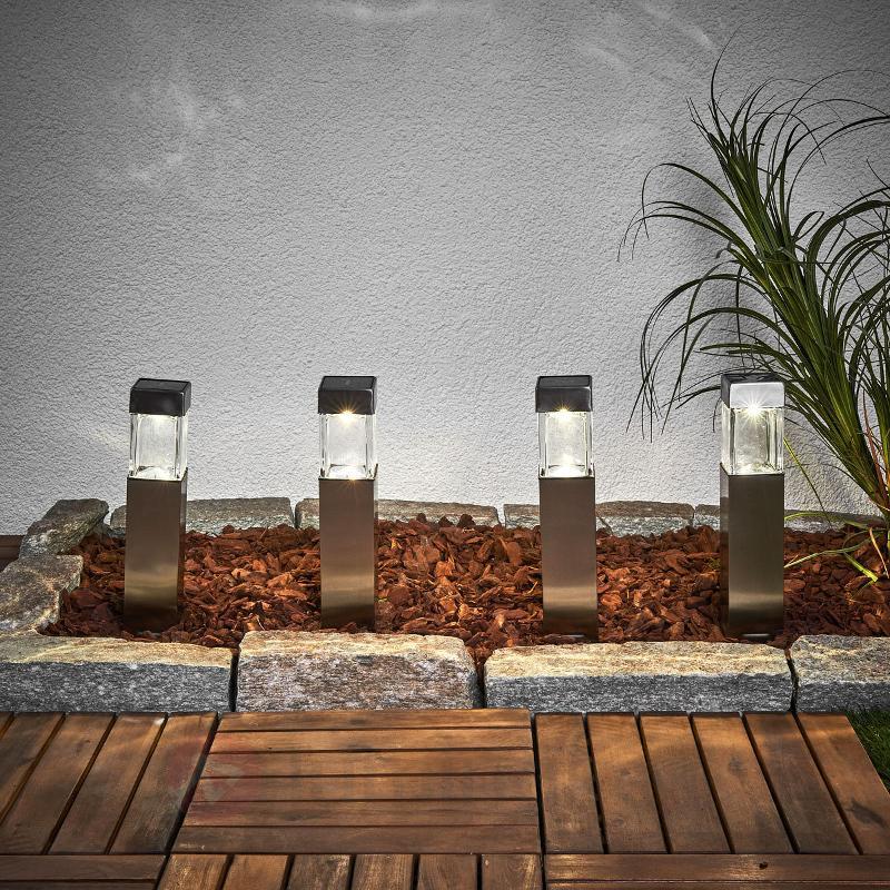 Lampe solaire LED carrée Barny - lot de 4 - Toutes les lampes solaires
