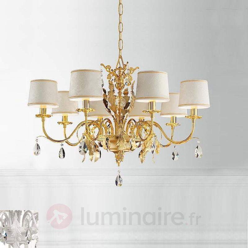 Lustre Angelis à 8 lampes à abat-jour damassés - Lustres classiques,antiques