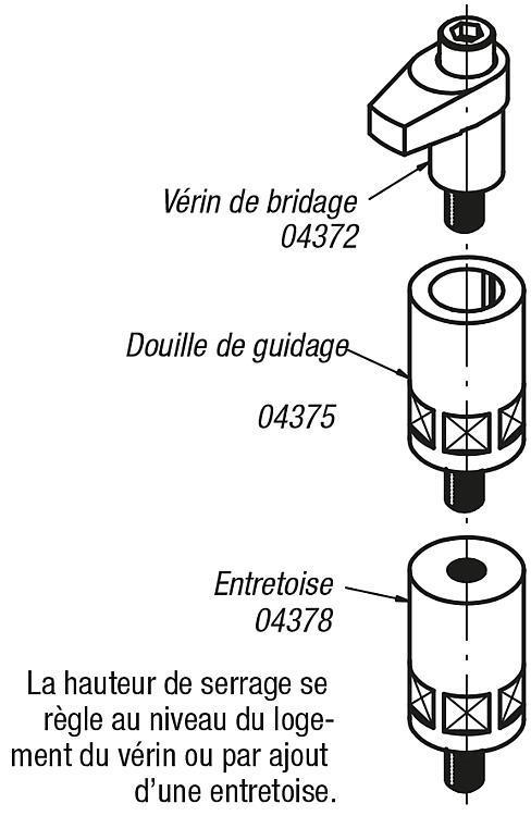 Vérin de bridage rectifié forme A/B/C - Éléments de bridage et d'ajustement