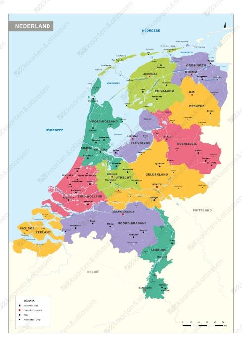 Schoolkaart Nederland  - Met provincies en belangrijkste steden
