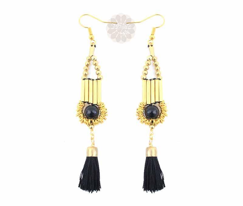 Black Tassel Drop Earrings -