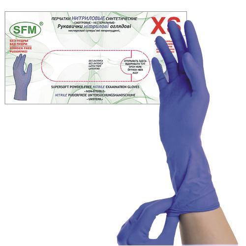 SFM SUPERSOFT Nitril Einmal - Handschuhe lang pf F-tex ACC-frei blau XS (100)