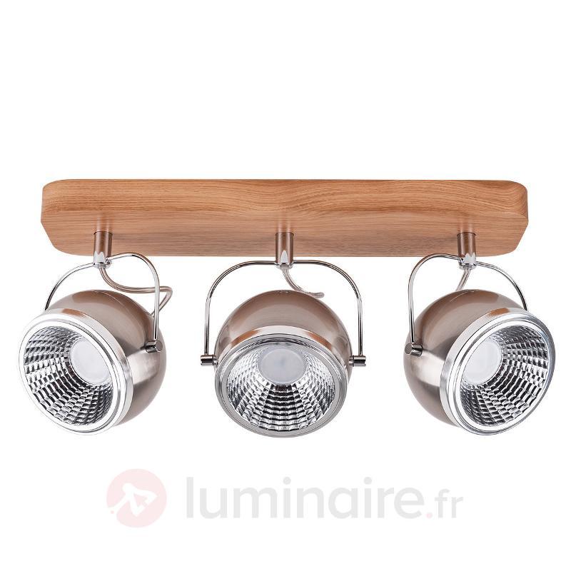 Plafonnier LED Ball Wood chêne huilé 3 lampes - Spots et projecteurs LED