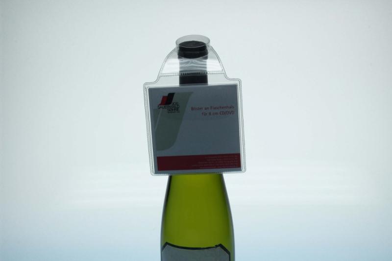 Blister für 8cm CD-Stecktasche an Flasche - Flaschenhalsverpackungen