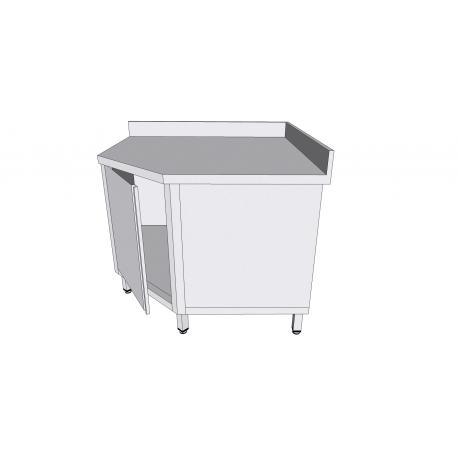Table armoire de coin adossée à porte battante en inox - Tables-armoires inox avec tiroirs