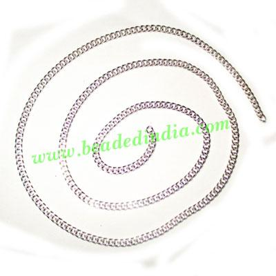 Silver Plated Metal Chain, size: 0.5x3mm, approx 51.5 meters - Silver Plated Metal Chain, size: 0.5x3mm, approx 51.5 meters in a Kg.