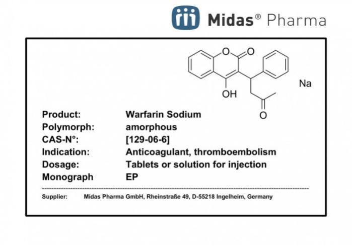Warfarina Sódica - Warfarina Sódica; sustancia activa; EP; (129-06-6)